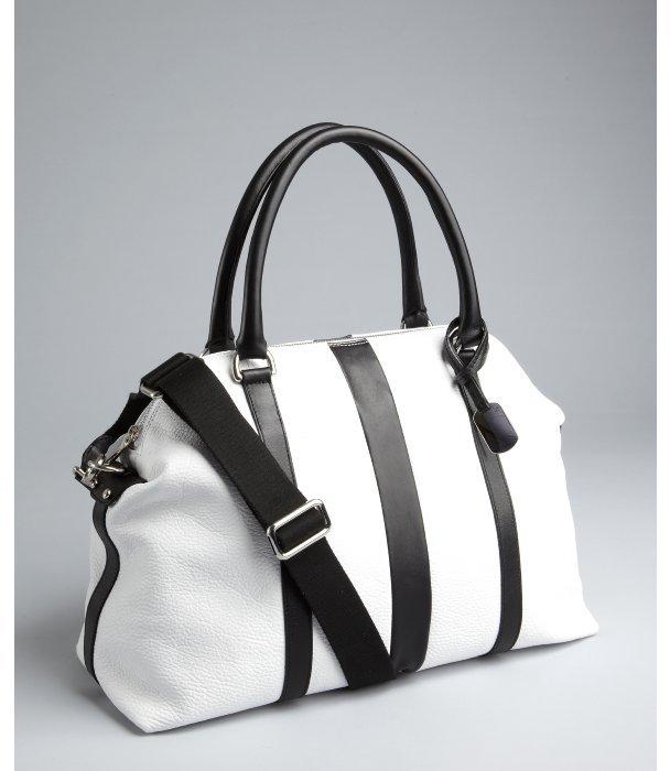 Furla white and black leather 'Soho Bauletto' satchel