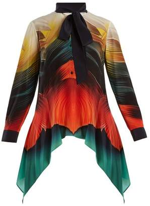 Mary Katrantzou Hearts Feather Print Silk Crepe Blouse - Womens - Orange Multi