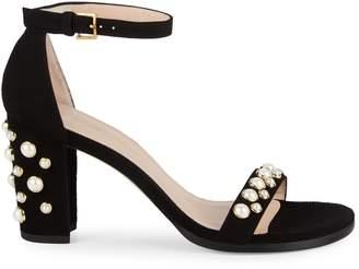 Stuart Weitzman Bing Pearl Studded Sandals