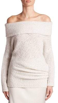 Calvin Klein Collection Doodle Off-The-Shoulder Cashmere & Silk Tunic