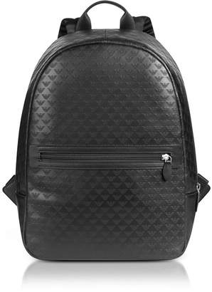 Emporio Armani Allover Signature Black Leather Men's Backpack