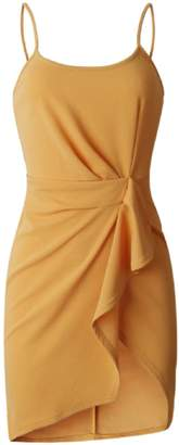 Goodnight Macaroon 'Margaux' Mustard Yellow Knotted Strap Mini Dress
