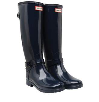 167b6e36f41b Hunter Womens Refined Adjustable Ankle Strap Tall Gloss Wellington Boots  Navy