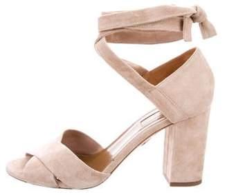 Aquazzura Suede Lace-Up Sandals