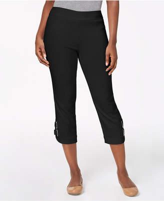 JM Collection Buckle-Hem Capri Pants