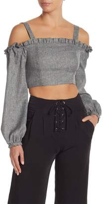 Do & Be Do + Be Cold Shoulder Woven Crop Top