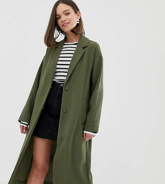 Monki lightweight tailored coat in khaki