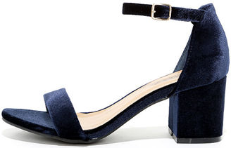 For Real Navy Velvet Ankle Strap Heels $29 thestylecure.com