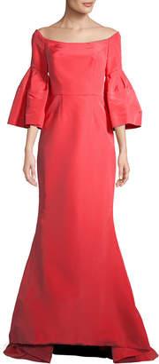 Carolina Herrera Off-The-Shoulder Silk Gown