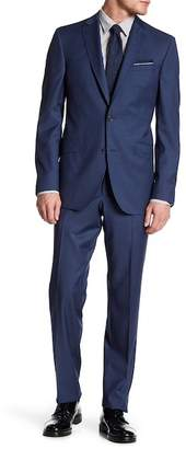 Ted Baker Blue Sharkskin Two Button Notch Lapel Wool Suit