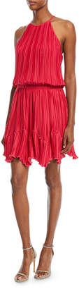 Halston Pleated Flounce Blouson Mini Cocktail Dress