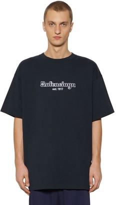 Balenciaga Oversize Embroidered Cotton T-shirt