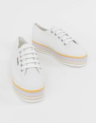 Superga 2790 white chunky flatform trainers with rainbow sole