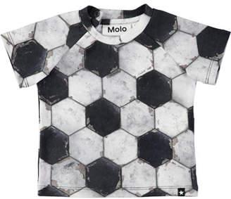 Molo Emmett Short-Sleeve Soccer Ball-Print T-Shirt, Size 6-24 Months