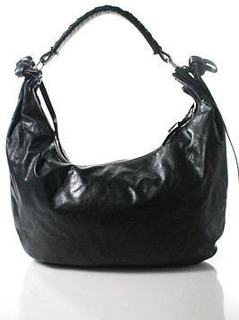 Miu Miu Miu Miu Black Leather Zippered Medium Hobo Handbag