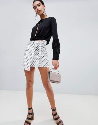 boohoo Polka Dot Tie Side Skirt