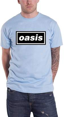 Oasis T Shirt Band Logo Definitely Maybe Album Official Mens New Blue