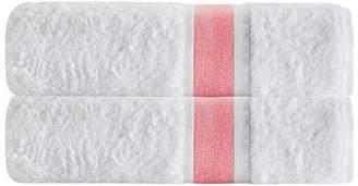 Enchante Set Of 2 Unique Salmon Stripe Bath Towels