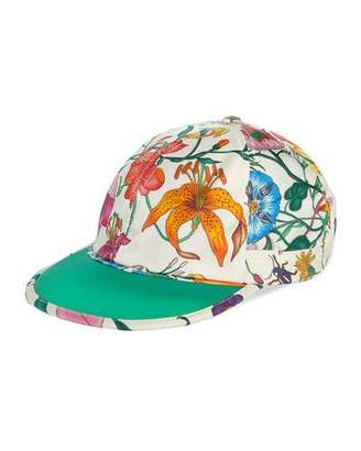 Gucci Men's Flora-Print Silk Baseball Hat