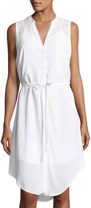 Neiman Marcus Sleeveless High-Low Shirtdress