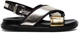 Marni Silver Gold Fusbett Leather sandals