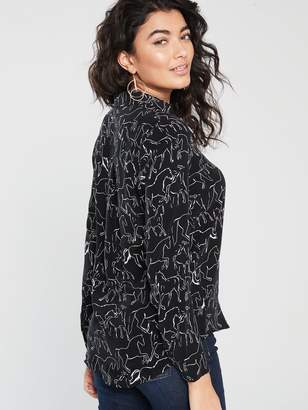 Whistles Stallion Print Pocket Blouse- Black