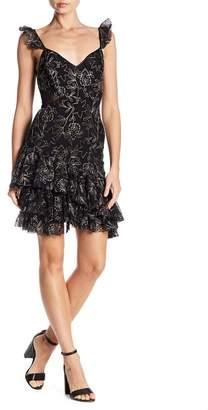 Cinq à Sept Enid Metallic Embroidery Ruffle Dress