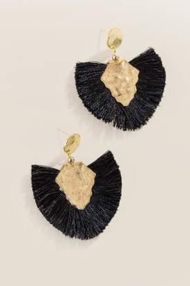 francesca's Elsa Fan Tassel Drop Earrings - Black