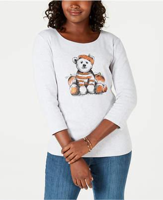 Karen Scott Halloween Cotton Pumpkin Bear T-Shirt, Created for Macy's