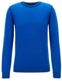 BOSS Hugo Slim-fit sweater in Egyptian cotton contrast stitching L Open Blue