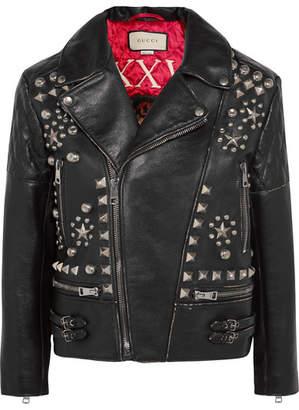 Gucci Studded Leather Biker Jacket - Black