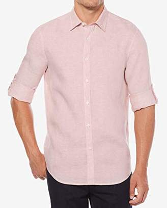 Perry Ellis Men's Rolled Sleeve Solid Linen Shirt