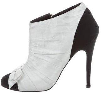 Chanel Satin Cap-Toe Booties