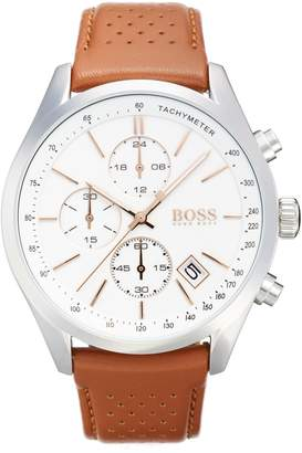 BOSS Grand Prix Leather Strap Chronograph Watch, 44mm