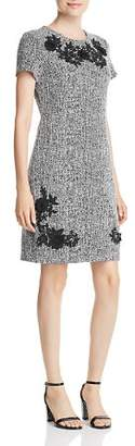 Karl Lagerfeld Paris Appliqué-Trimmed Tweed Shift Dress