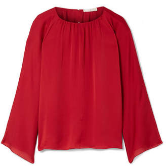 The Row Lancy Gathered Washed Silk-charmeuse Blouse