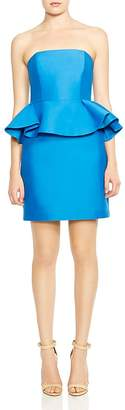 Halston Strapless Peplum Dress