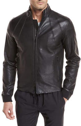 Vince Lamb Leather Bomber Jacket