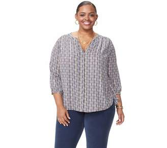 NYDJ Plus Pullover 3/4-Sleeve Pintuck Blouse