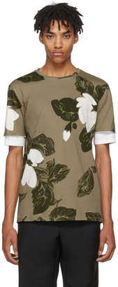 3.1 Phillip Lim Green Floral Double Sleeve T-Shirt