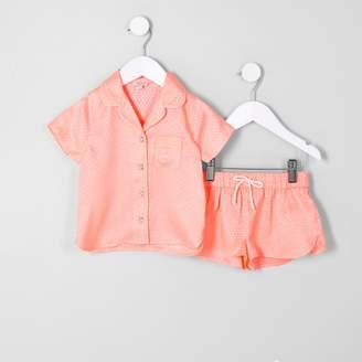 River Island Mini girls Orange jacquard shirt pyjama set