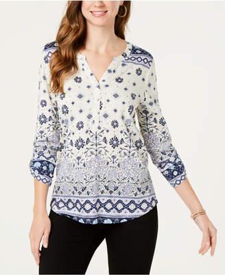 Style&Co. Style & Co Petite Split Neck 3/4-Sleeve Printed Shirt