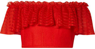 Alexander McQueen Off-the-shoulder Cropped Lace And Open-knit Top - Red
