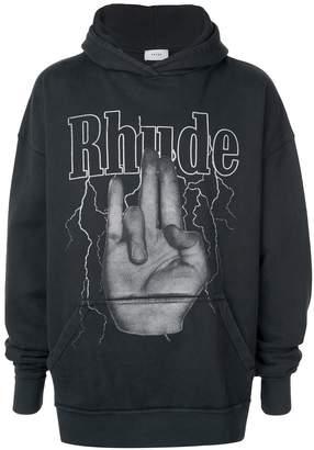 Rhude logo print hoodie