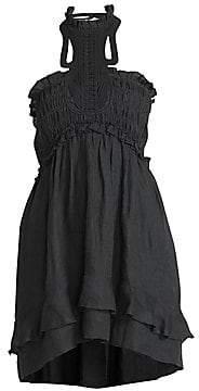Isabel Marant Women's Gota Smocked High-Low Ruffle Dress