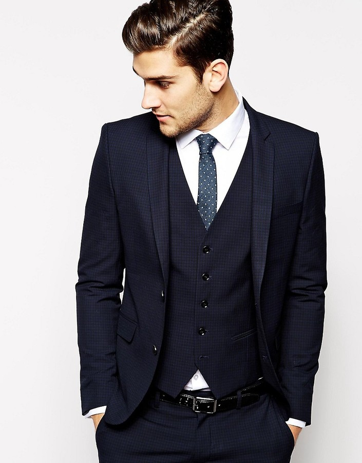 Selected Homme Selected Lux Tonal Check Suit Jacket In Skinny Fit - Blue
