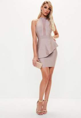 Missguided Nude High Neck Bandage Frill Dress