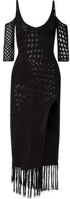 Altuzarra Octavia Fringed Crocheted Cotton-blend Midi Dress - Black