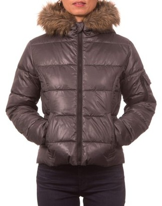 Online Juniors Down Blend Hooded Puffer Jacket with Faux Fur Rim