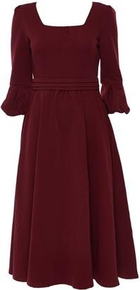 Wallis **Jolie Moi Burgundy Fit and Flare Midi Dress